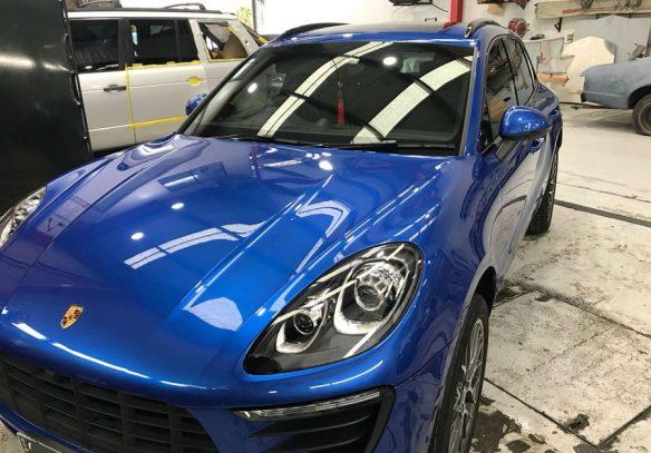 blue porsche at Basha Autohaus